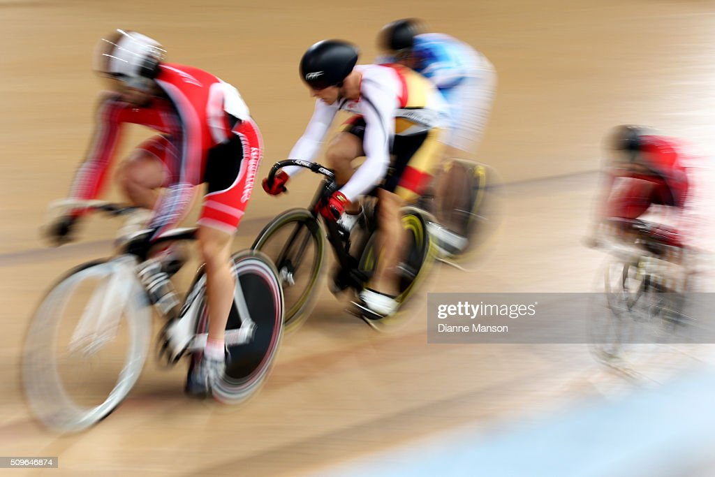 Matthew Archibald of Southland (R) competes in the Elite Men Keirin first round heats during the New Zealand Track National Championships on February 12, 2016 in Cambridge, New Zealand.