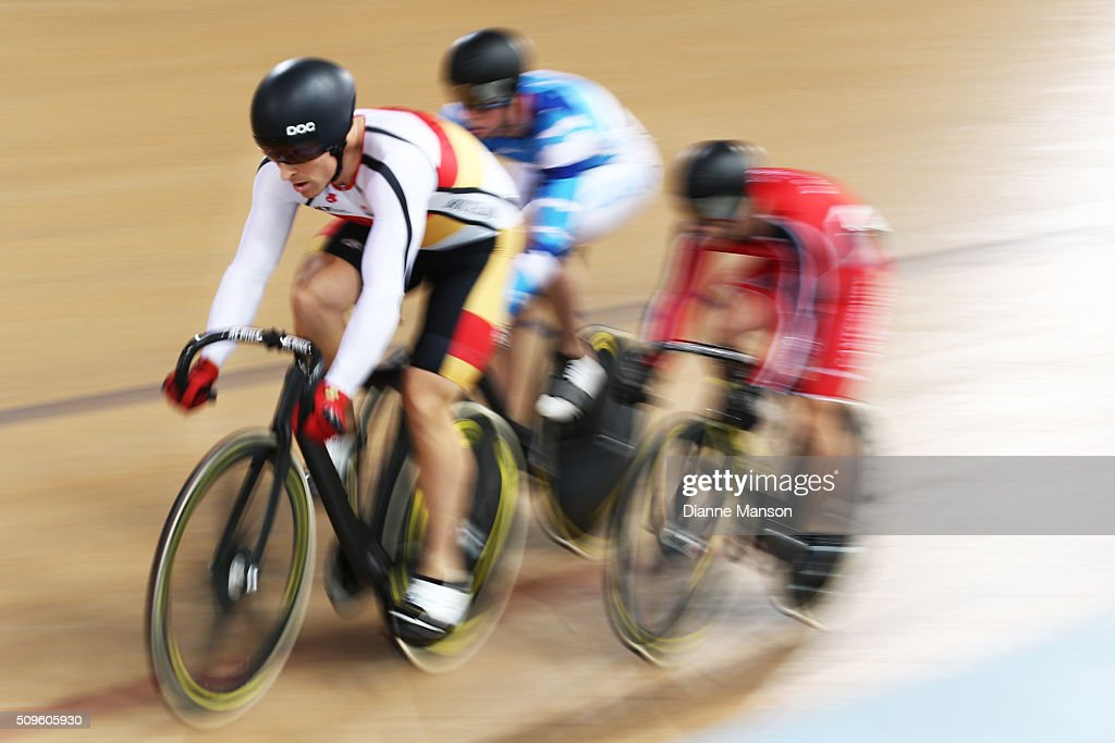 Matthew Archibald of Southland rides out front in the Elite Men Keirin first round heats during the New Zealand Track National Championships on February 12, 2016 in Cambridge, New Zealand.