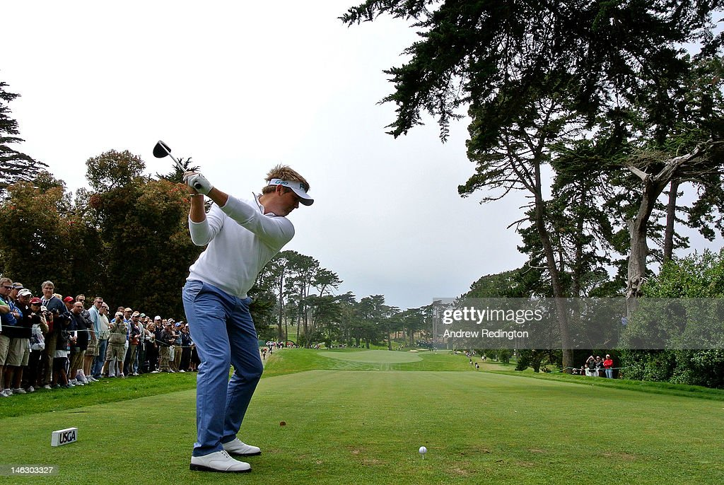 Matthew Baldwin of England hits a tee shot during a practice round prior to the start of the 112th U.S. Open at The Olympic Club on June 13, 2012 in San Francisco, California.