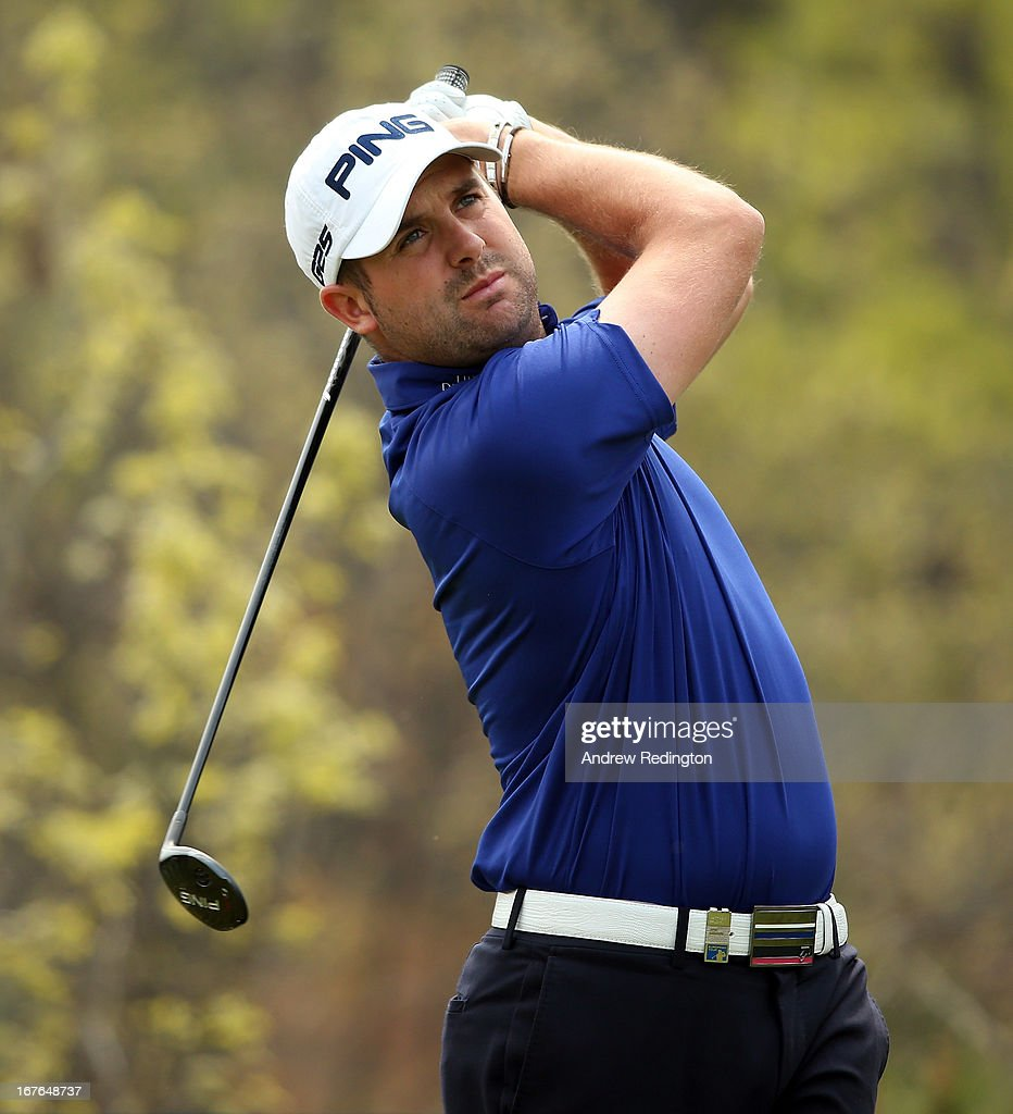 Matthew Baldwin of England hits his tee-shot on the sixth hole during the third round of the Ballantine's Championship at Blackstone Golf Club on April 27, 2013 in Icheon, South Korea.