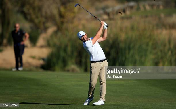Matthew Baldwin of England in action during the final round of the European Tour Qualifying School Final Stage at Lumine Golf Club on November 16...