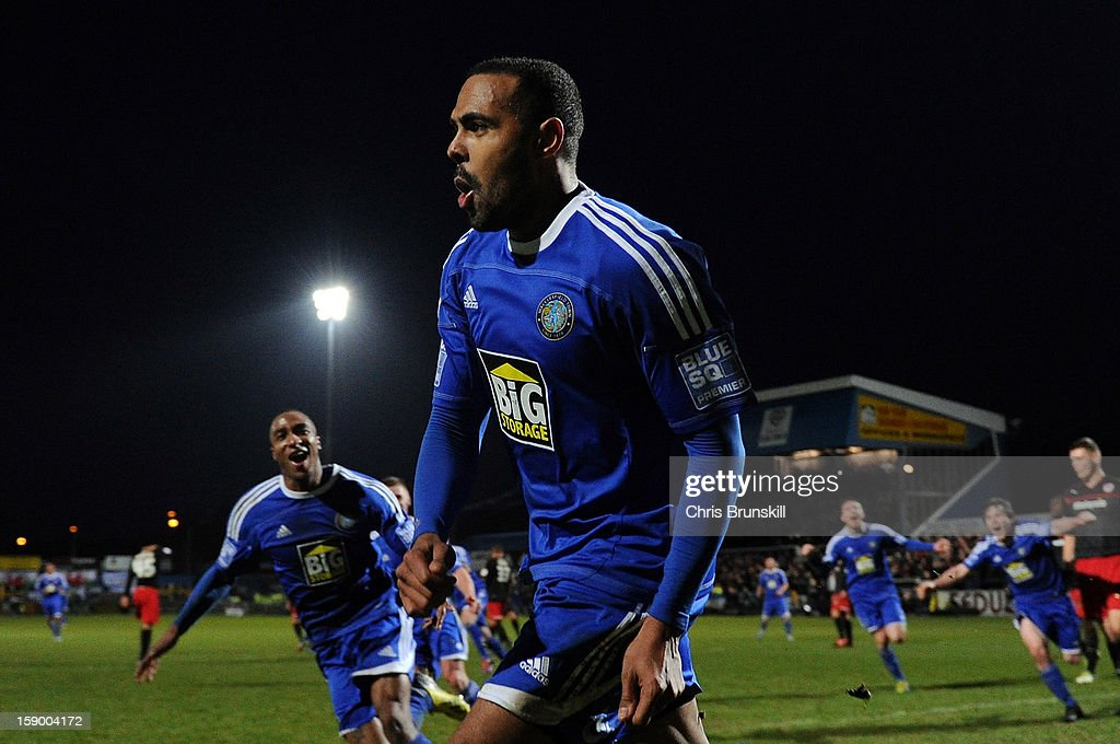 Matthew Barnes-Homer of Macclesfield Town celebrates scoring the winning goal from the penalty spot during the FA Cup with Budweiser Third Round match between Macclesfield Town and Cardiff City at Moss Rose Ground on January 5, 2013 in Macclesfield, England.