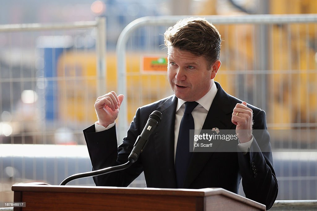 Matthew Barzun, the U.S. Ambassador to the United Kingdom, addresses the audience at the Groundbreaking Ceremony on the construction site for the new United States embassy in Wandsworth on November 13, 2013 in London, England. Construction of the new, cube-shaped embassy on the 4.9 acres site, less than a mile from the Houses of Parliament, is expected to be completed in 2017 and will see the US embassy relocate from its current address in Mayfair.