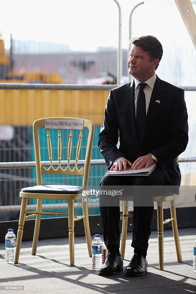 Matthew Barzun, the U.S. Ambassador to the United Kingdom, prepares to address the audience at the Groundbreaking Ceremony on the construction site for the new United States embassy in Wandsworth on November 13, 2013 in London, England. Construction of the new, cube-shaped embassy on the 4.9 acres site, less than a mile from the Houses of Parliament, is expected to be completed in 2017 and will see the US embassy relocate from its current address in Mayfair.