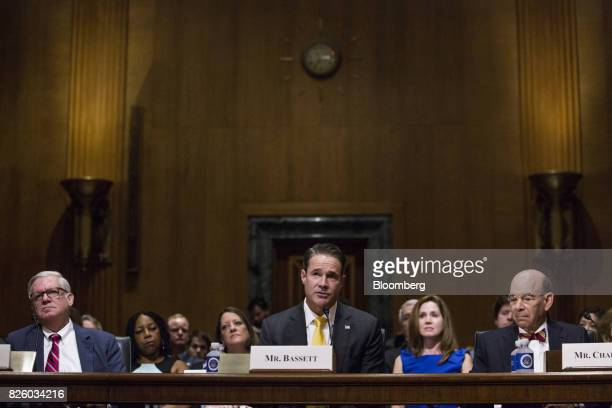 Matthew Bassett assistant secretary of Health and Human Services nominee for US President Donald Trump speaks during a Senate Finance Committee...