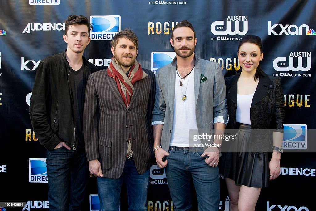 Matthew Beard, Josh Doyle, Josh Sasse and Leah Gibson arrive at DIRECTV and AUDIENCE Network's Road To Rogue Party on March 16, 2013 in Austin, Texas.