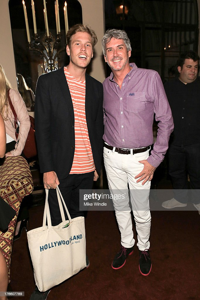 Matthew Bedard (L) and President of Superdry North America Stephen Cox attend the SUPERDRY intimate dinner in celebration of the brand's Autumn/Winter 2013 Collection at Chateau Marmont on August 15, 2013 in Los Angeles, California.