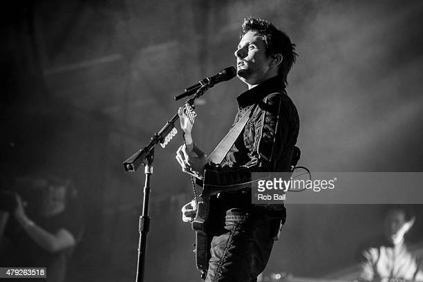 Matthew Bellamy from Muse performs at Roskilde Festival on July 2 2015 in Roskilde Denmark