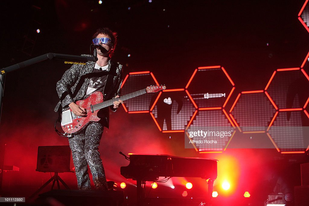Matthew Bellamy of Muse performs at Day 3 of Rock In Rio on May 27, 2010 in Lisbon, Portugal.
