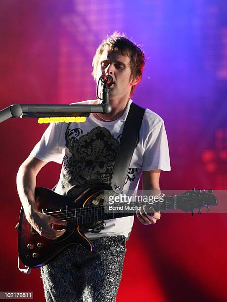 Matthew Bellamy of the band Muse performs on stage during the final day of Rock Im Park Festival at Zeppelinfeld on June 6 2010 in Nuremberg Germany