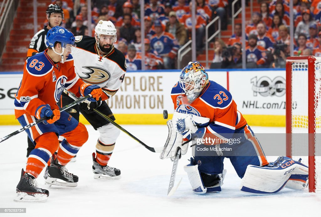 Matthew Benning #83 and goalie Cam Talbot #33 of the Edmonton Oilers defend the net against Nate Thompson #44 of the Anaheim Ducks in Game Three of the Western Conference Second Round during the 2017 NHL Stanley Cup Playoffs at Rogers Place on April 30, 2017 in Edmonton, Alberta, Canada.