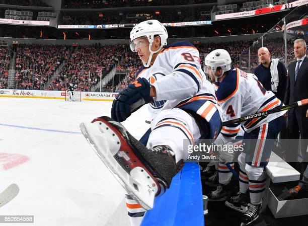 Matthew Benning of the Edmonton Oilers jumps over the boards during the preseason game against the Winnipeg Jets on September 23 2017 at Rogers Place...