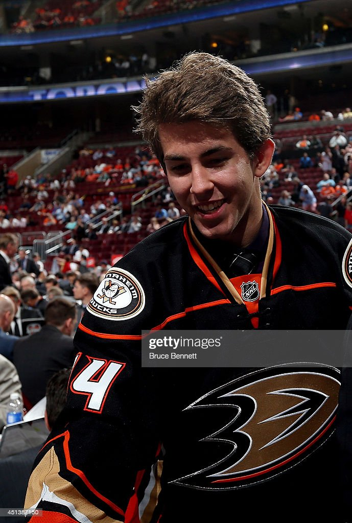Matthew Berkovitz meets his team after being drafted #123 by the Anaheim Ducks on Day Two of the 2014 NHL Draft at the Wells Fargo Center on June 28, 2014 in Philadelphia, Pennsylvania.