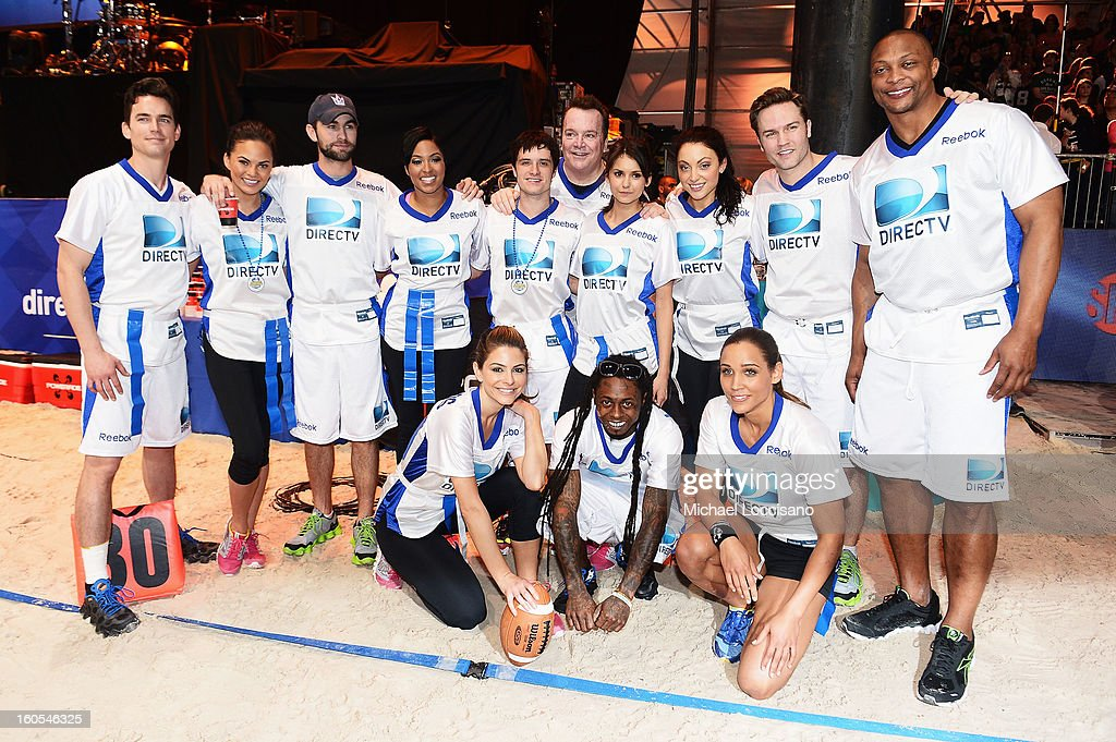 Matthew Bomer, Christine Teigen, Chace Crawford, Alicia Quarles, Josh Hutcherson, Tom Arnold, Nina Dobrev, Leah Gibson, Scott Porter, Eddie George, (Bottom L-R) Maria Menounos, Lil Wayne, and Lolo Jones attend DIRECTV'S Seventh Annual Celebrity Beach Bowl at DTV SuperFan Stadium at Mardi Gras World on February 2, 2013 in New Orleans, Louisiana.