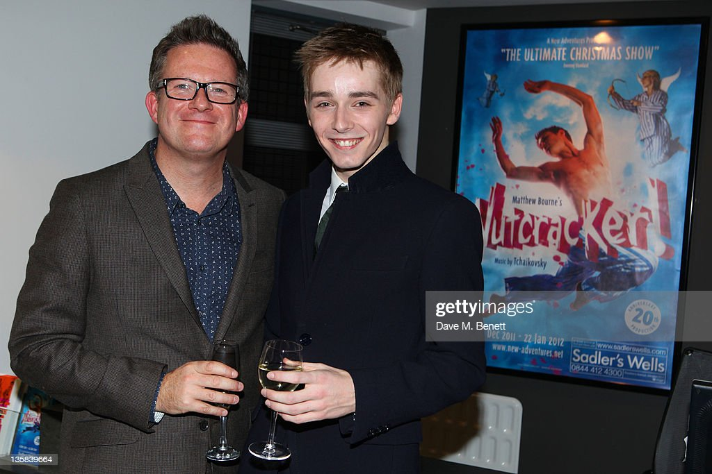 Matthew Bourne (L) and Liam Mower attend the press night for Matthew Bourne's The Nutcracker at Sadler's Wells Theatre on December 14,2011 in London,England.