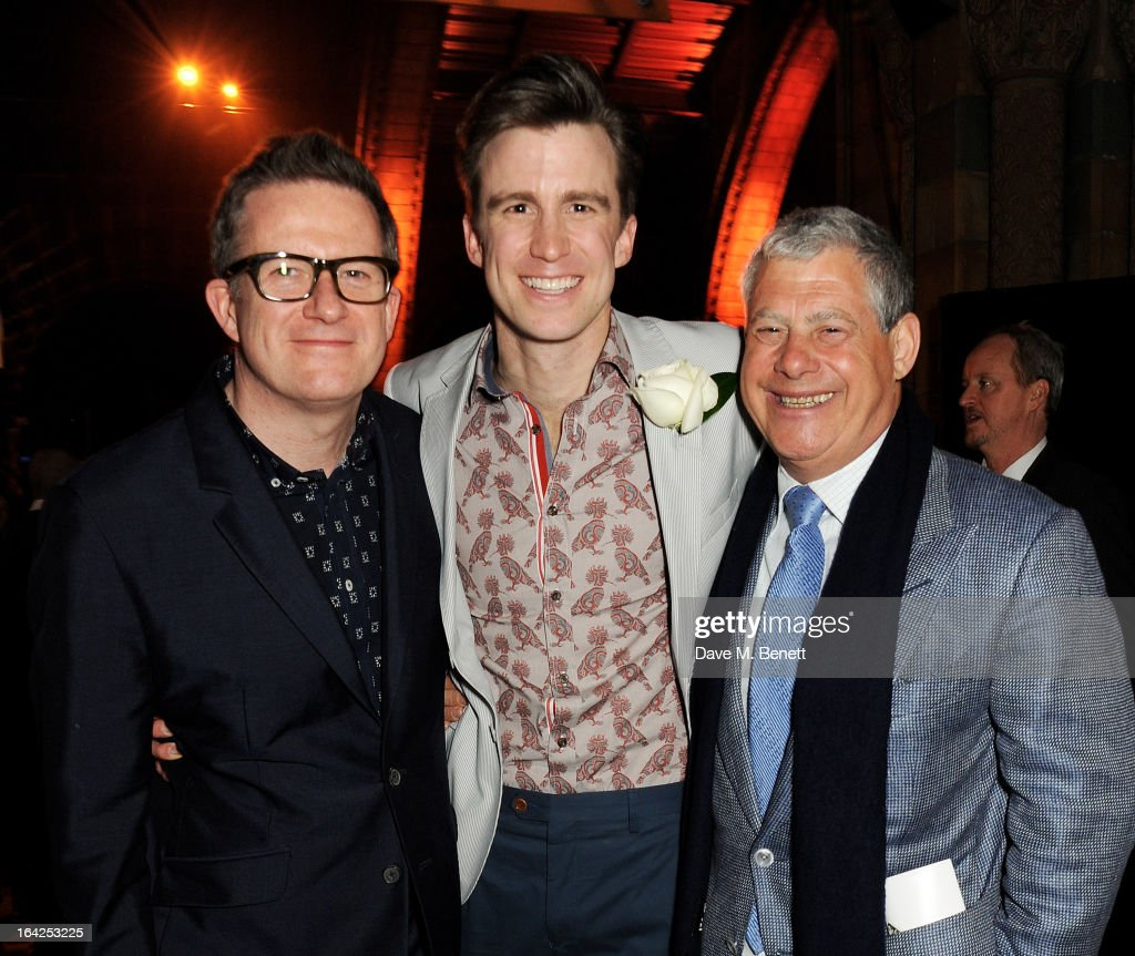 Matthew Bourne, Gavin Creel and Sir Cameron Mackintosh attend an after party following the press night performance of 'The Book of Mormon' at the Natural History Museum on March 21, 2013 in London, England.