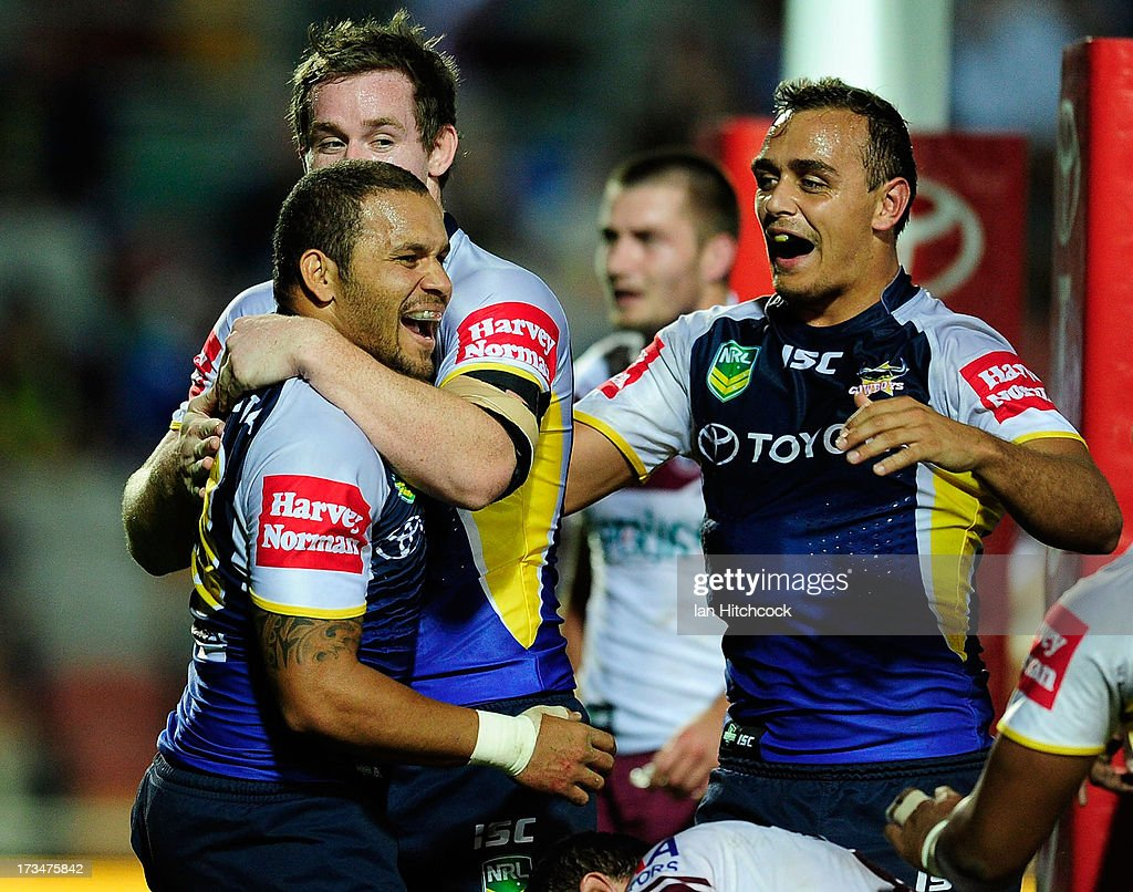 Matthew Bowen of the Cowboys celebrates after scoring a try during the round 18 NRL match between the North Queensland Cowboys and the Manly Sea Eagles at 1300SMILES Stadium on July 15, 2013 in Townsville, Australia.