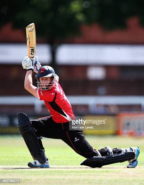Matthew Boyce of Leicestershire hits the ball towards the boundary during the Royal London One Day Cup match between Leicestershire Foxes and...