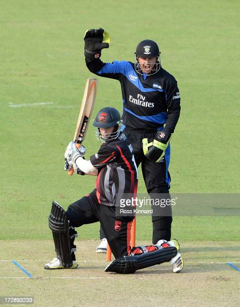 Matthew Boyce of the Leicestershire Foxes is out LBW during the Friends Life T20 match between Leicestershire Foxes and Durham Dynamos at Grace Road...