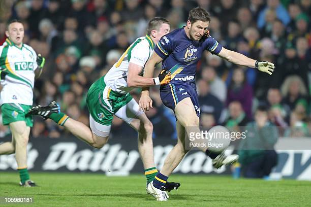 Matthew Boyd of Australia and Kevin Reilly of Ireland in action during the International Rules series First Test between Ireland and Australia at the...