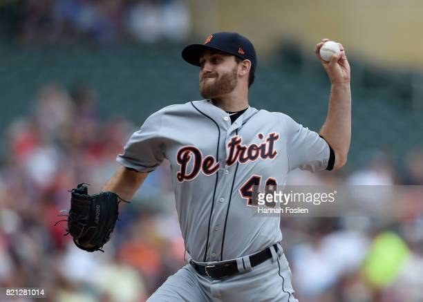 Matthew Boyd of the Detroit Tigers delivers a pitch against the Minnesota Twins during the first inning of the game on July 23 2017 at Target Field...