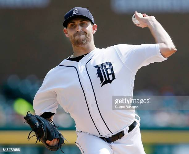 Matthew Boyd of the Detroit Tigers pitches against the Chicago White Sox during the third inning at Comerica Park on September 17 2017 in Detroit...