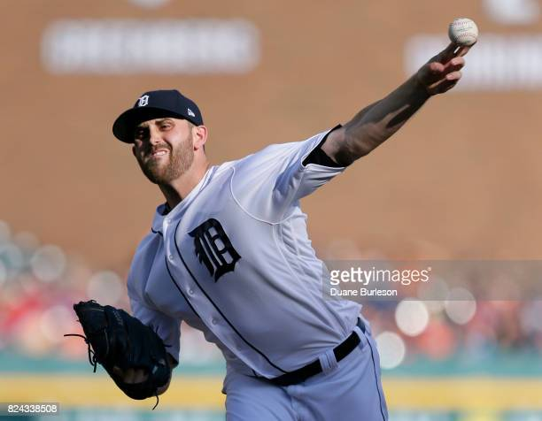 Matthew Boyd of the Detroit Tigers pitches against the Houston Astros during the second inning at Comerica Park on July 29 2017 in Detroit Michigan