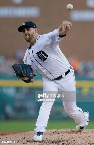 Matthew Boyd of the Detroit Tigers pitches against the Minnesota Twins during the third inning at Comerica Park on September 23 2017 in Detroit...