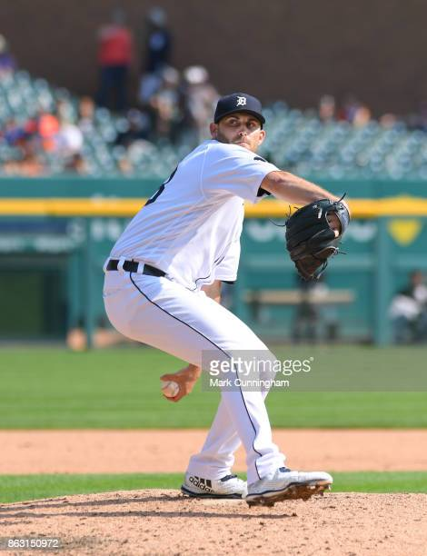 Matthew Boyd of the Detroit Tigers pitches during his complete game onehit shutout against the Chicago White Sox at Comerica Park on September 17...