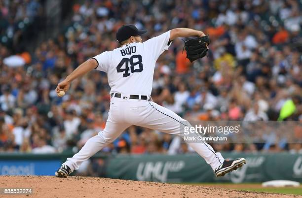 Matthew Boyd of the Detroit Tigers pitches during the game against the Houston Astros at Comerica Park on July 29 2017 in Detroit Michigan The Tigers...