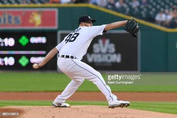 Matthew Boyd of the Detroit Tigers pitches during the game against the Minnesota Twins at Comerica Park on September 23 2017 in Detroit Michigan The...