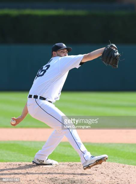 Matthew Boyd of the Detroit Tigers throws a warmup pitch between innings of his complete game onehit shutout against the Chicago White Sox at...