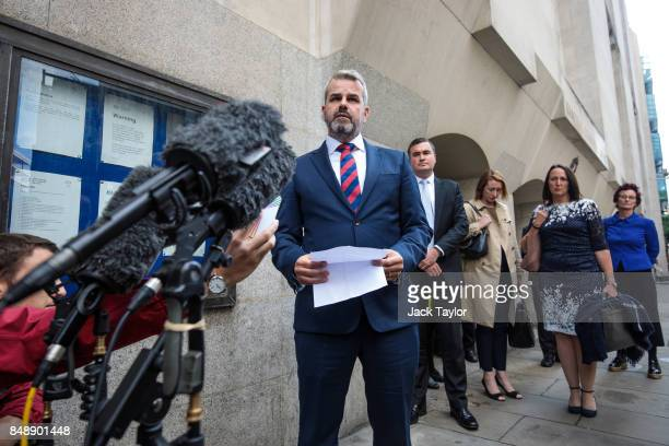 Matthew Briggs widower of Kim Briggs makes a statement outside the Old Bailey on September 18 2017 in London England Charlie Alliston has been...
