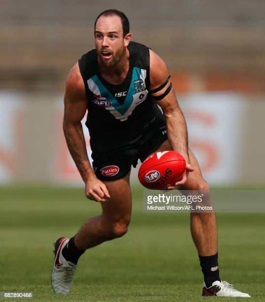 Matthew Broadbent of the Power in action during the 2017 AFL round 08 match between the Gold Coast Suns and Port Adelaide Power at Jiangwan Sports...