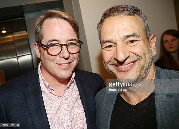 Matthew Broderick and Joe DiPietro pose at The Opening Night party for 'Shining City' at The Irish Repertory Theatre on June 9 2016 in New York City