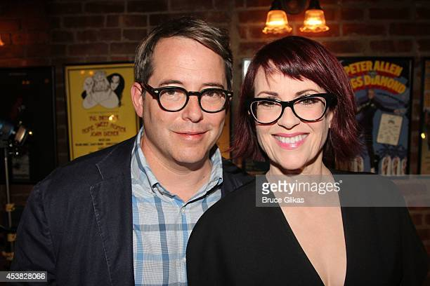 Matthew Broderick and Megan Mullally attend the 'It's Only A Play' Cast Photocall at Joe Allen Restaurant on August 19 2014 in New York City