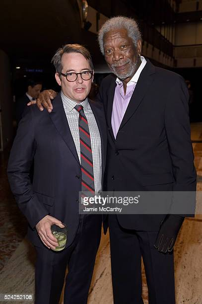 Matthew Broderick and Morgan Freeman attend the 43rd Chaplin Award Gala on April 25 2016 in New York City