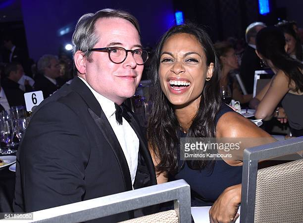 Matthew Broderick and Rosario Dawson attend as the Friars Club Honors Tony Bennett With The Entertainment Icon Award Inside at New York Sheraton...