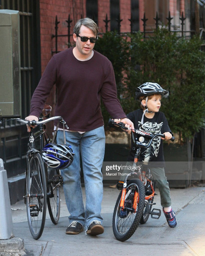 Matthew Broderick and son James Broderick are seen riding their bicycles on the streets of Manhattan on September 20, 2009 in New York, New York.