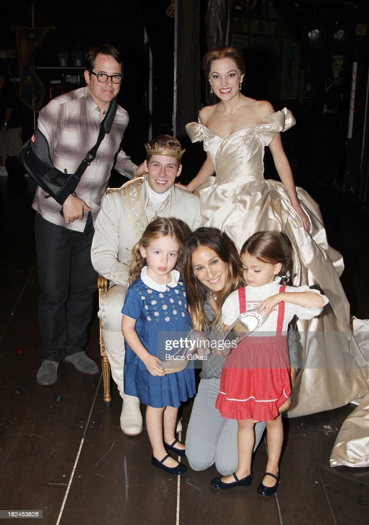 <a gi-track='captionPersonalityLinkClicked' href=/galleries/search?phrase=Matthew+Broderick&family=editorial&specificpeople=201912 ng-click='$event.stopPropagation()'>Matthew Broderick</a>, Andy jones as 'Topher', <a gi-track='captionPersonalityLinkClicked' href=/galleries/search?phrase=Laura+Osnes&family=editorial&specificpeople=4213655 ng-click='$event.stopPropagation()'>Laura Osnes</a> as 'Cinderella', <a gi-track='captionPersonalityLinkClicked' href=/galleries/search?phrase=Marion+Loretta+Elwell+Broderick&family=editorial&specificpeople=5947260 ng-click='$event.stopPropagation()'>Marion Loretta Elwell Broderick</a>, mother <a gi-track='captionPersonalityLinkClicked' href=/galleries/search?phrase=Sarah+Jessica+Parker&family=editorial&specificpeople=201693 ng-click='$event.stopPropagation()'>Sarah Jessica Parker</a> and <a gi-track='captionPersonalityLinkClicked' href=/galleries/search?phrase=Tabitha+Hodge+Broderick&family=editorial&specificpeople=5947262 ng-click='$event.stopPropagation()'>Tabitha Hodge Broderick</a> backstage at 'Rodgers & Hammerstein's Cinderella' on Broadway at The Broadway Theater on September 29, 2013 in New York City.