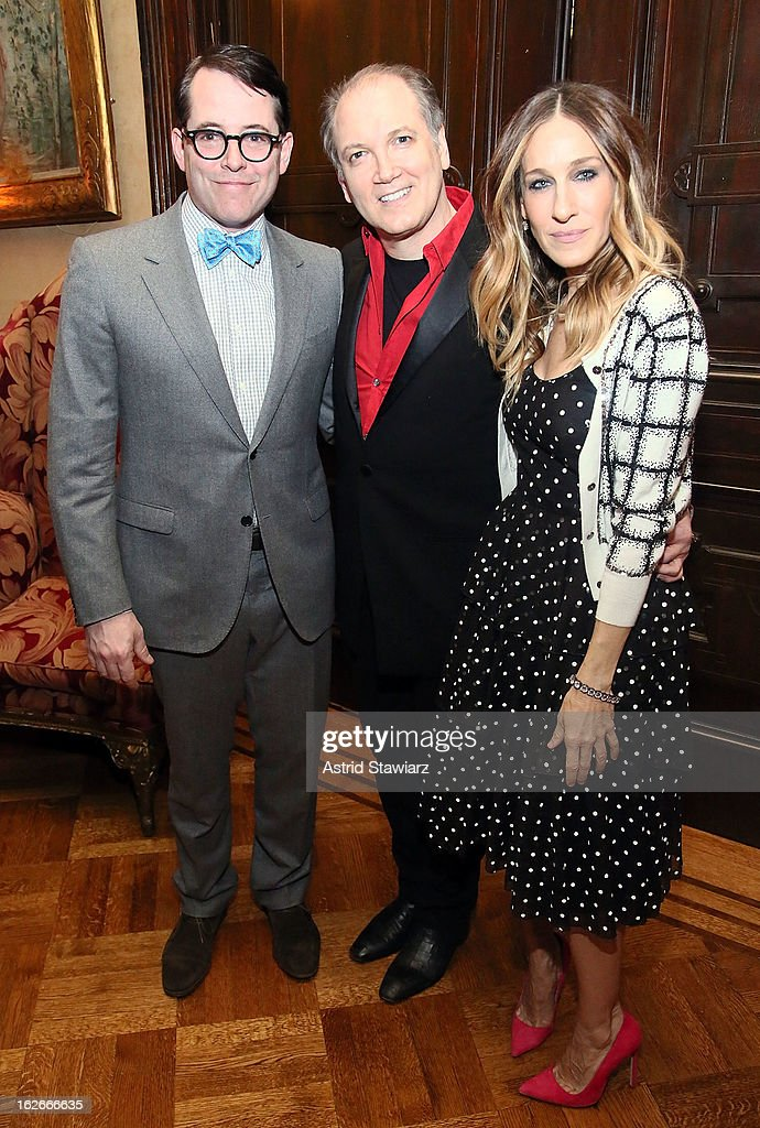<a gi-track='captionPersonalityLinkClicked' href=/galleries/search?phrase=Matthew+Broderick&family=editorial&specificpeople=201912 ng-click='$event.stopPropagation()'>Matthew Broderick</a>, <a gi-track='captionPersonalityLinkClicked' href=/galleries/search?phrase=Charles+Busch&family=editorial&specificpeople=227410 ng-click='$event.stopPropagation()'>Charles Busch</a> and <a gi-track='captionPersonalityLinkClicked' href=/galleries/search?phrase=Sarah+Jessica+Parker&family=editorial&specificpeople=201693 ng-click='$event.stopPropagation()'>Sarah Jessica Parker</a> attend the 10th Annual Love 'N' Courage Benefit For TNC's Emerging Playwrights Program at The National Arts Club on February 25, 2013 in New York City.