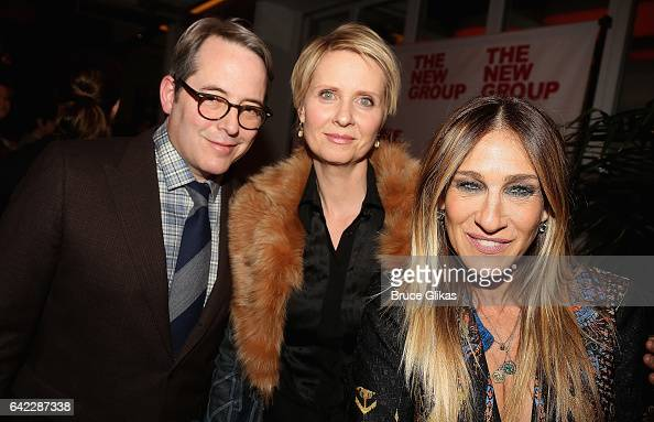 Matthew Broderick Cynthia Nixon and Sarah Jessica Parker pose at the Opening Night Party for The New Group production of 'Evening at The Talk House'...