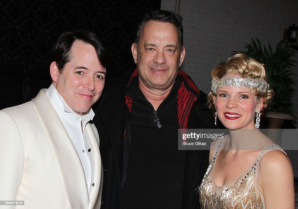 <a gi-track='captionPersonalityLinkClicked' href=/galleries/search?phrase=Matthew+Broderick&family=editorial&specificpeople=201912 ng-click='$event.stopPropagation()'>Matthew Broderick</a>, <a gi-track='captionPersonalityLinkClicked' href=/galleries/search?phrase=Tom+Hanks&family=editorial&specificpeople=201790 ng-click='$event.stopPropagation()'>Tom Hanks</a> and <a gi-track='captionPersonalityLinkClicked' href=/galleries/search?phrase=Kelli+O%27Hara+-+Actress&family=editorial&specificpeople=225013 ng-click='$event.stopPropagation()'>Kelli O'Hara</a> pose backstage at the hit musical 'Nice Work If You Can Get It' on Broadway at The Imperial Theater on February 3, 2013 in New York City.