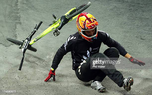 Matthew Cameron of New Zealand crashes out during day five of the UCI BMX World Championships at Vector Arena on July 28 2013 in Auckland New Zealand