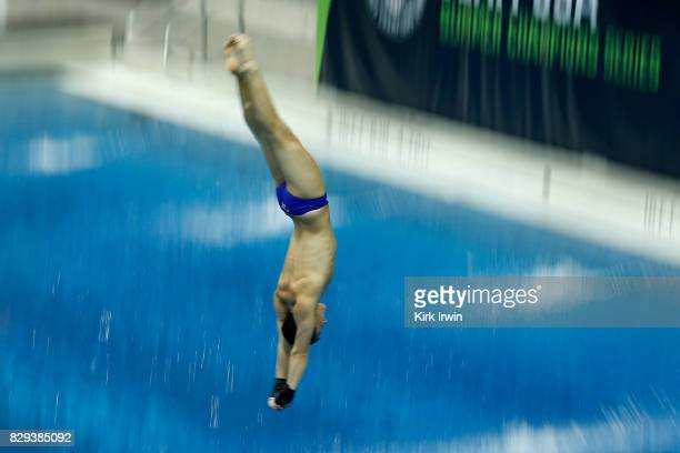 Matthew Casillas of Mission Viejo prepares to enter the water after completing a dive during the Senior Men's Platform Semifinal during the 2017 USA...