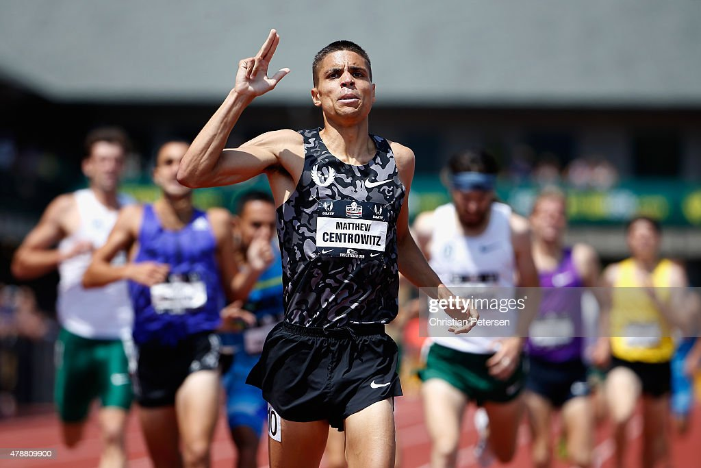 <a gi-track='captionPersonalityLinkClicked' href=/galleries/search?phrase=Matthew+Centrowitz&family=editorial&specificpeople=7293929 ng-click='$event.stopPropagation()'>Matthew Centrowitz</a> celebrates after winning the Men's 1,500 Meter Run final during day three of the 2015 USA Outdoor Track & Field Championships at Hayward Field on June 27, 2015 in Eugene, Oregon.