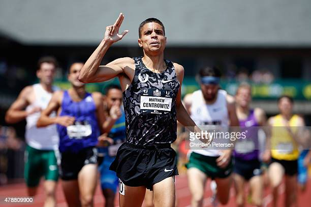 Matthew Centrowitz celebrates after winning the Men's 1500 Meter Run final during day three of the 2015 USA Outdoor Track Field Championships at...