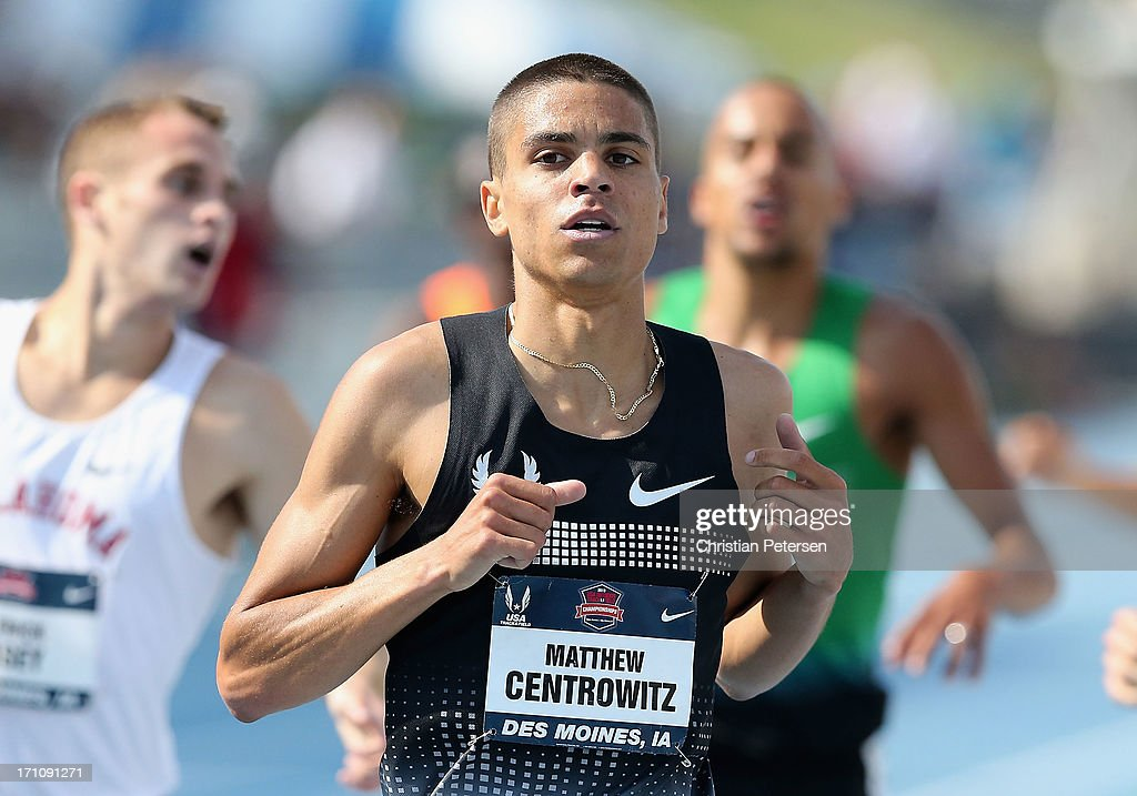 <a gi-track='captionPersonalityLinkClicked' href=/galleries/search?phrase=Matthew+Centrowitz&family=editorial&specificpeople=7293929 ng-click='$event.stopPropagation()'>Matthew Centrowitz</a> following the Men's 1500 Meter Run on day one of the 2013 USA Outdoor Track & Field Championships at Drake Stadium on June 20, 2013 in Des Moines, Iowa.