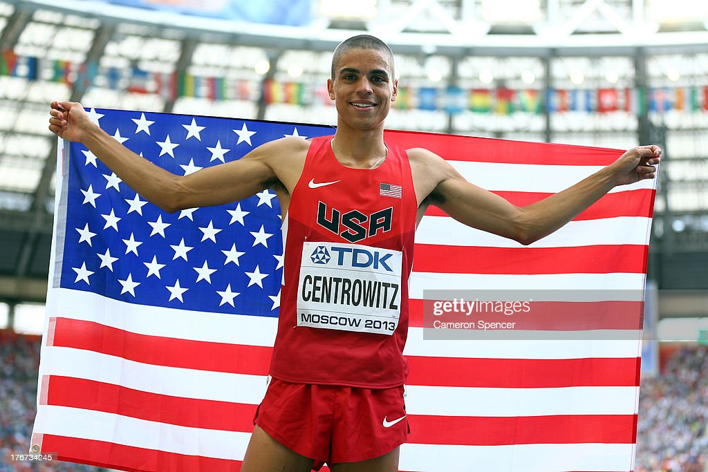 <a gi-track='captionPersonalityLinkClicked' href=/galleries/search?phrase=Matthew+Centrowitz&family=editorial&specificpeople=7293929 ng-click='$event.stopPropagation()'>Matthew Centrowitz</a> of the United States celebrates winning silver in the Men's 1500 metres final during Day Nine of the 14th IAAF World Athletics Championships Moscow 2013 at Luzhniki Stadium on August 18, 2013 in Moscow, Russia.