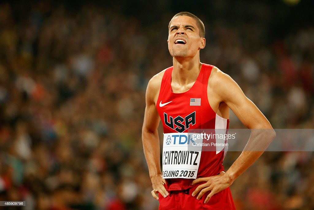 <a gi-track='captionPersonalityLinkClicked' href=/galleries/search?phrase=Matthew+Centrowitz&family=editorial&specificpeople=7293929 ng-click='$event.stopPropagation()'>Matthew Centrowitz</a> of the United States reacts after the Men's 1500 metres final during day nine of the 15th IAAF World Athletics Championships Beijing 2015 at Beijing National Stadium on August 30, 2015 in Beijing, China.